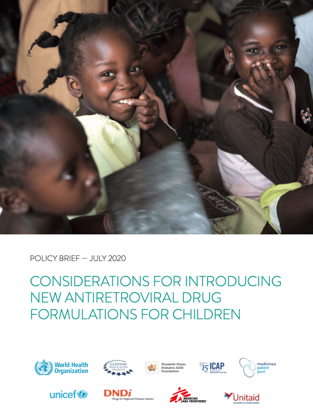 "Bulletin politique de l'OMS (en anglais) : ""Considerations for introducing new antiretroviral drug formulations for children"""