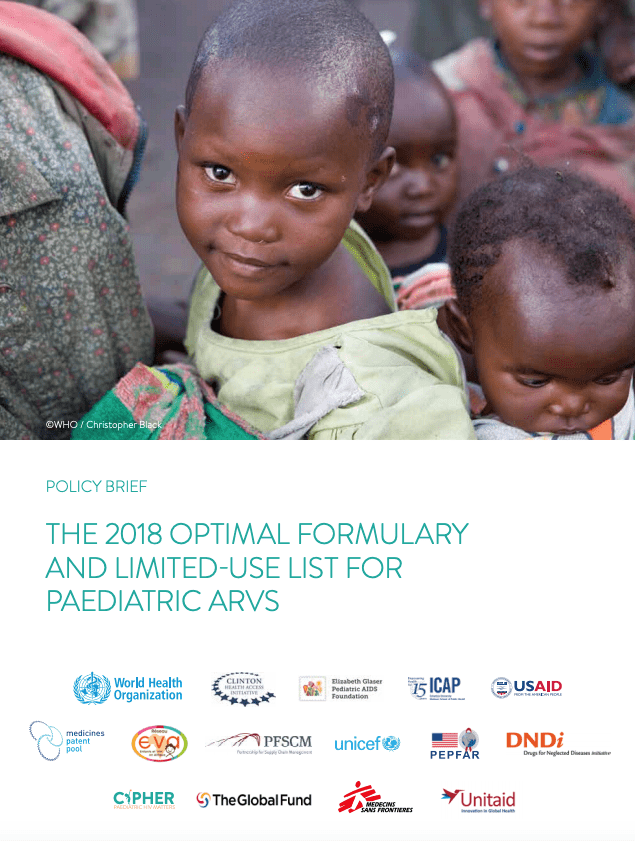 "Bulletin politique de l'OMS (en anglais) : ""2018 optimal formulary and limited-use list for paediatric ARVs"""