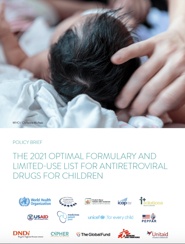 The 2021 optimal formulary and limited-use list for antiretroviral drugs for children – WHO policy brief