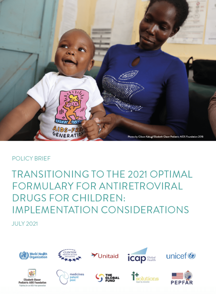 Transitioning to the 2021 optimal formulary for antiretroviral drugs for children: implementation considerations – WHO policy brief
